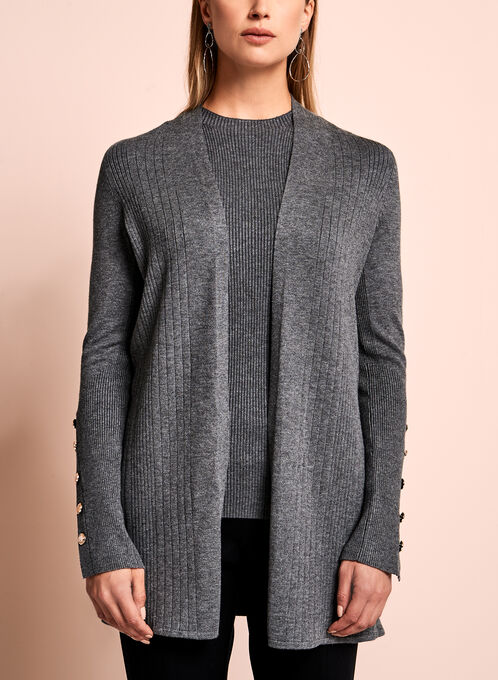 Open Front Knit Cardigan , Grey, hi-res