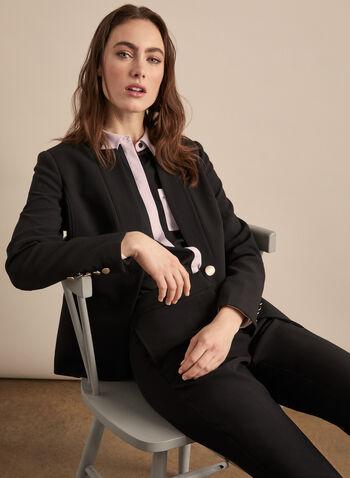 Veste à col cranté inversé et un bouton, Noir,  veste, col cranté inversé, manches longues, bouton, épaulettes, printemps été 2020