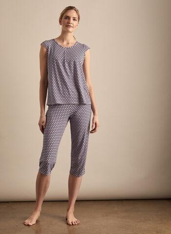 Hamilton - Polka Dot Print Pyjama Set, Blue,  Canada, Hamilton, pyjama, sleepwear, polka dots, capris, short sleeves, spring 2020, summer 2020