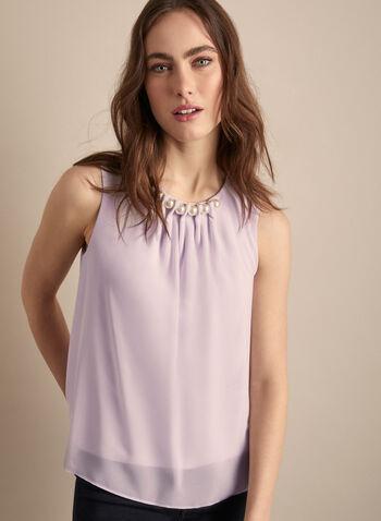 Joseph Ribkoff - Pearl Detail Chiffon Blouse, Purple,  Canada, blouse, sleeveless, pearls, chiffon blouse, top, chiffon, spring 2020, summer 2020