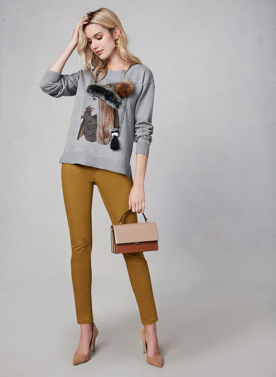 Gabby Isabella - Printed Sweater, Grey