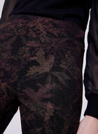 Pull-On Straight Leg Leaf Print Pants, Red, hi-res