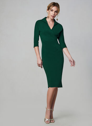Maggy London - Wrap-Style Dress, Green, hi-res,  Maggy London, dress, day dress, 3/4 sleeves, long sleeves, wrap, exposed back zipper, fall 2019, winter 2019