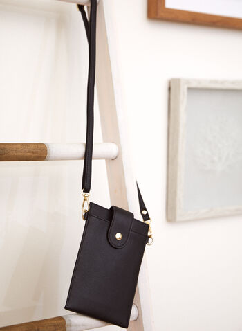 Tab Closure Cellphone Bag, Black,  Fall winter 2021, accessory, accessories, bag, mobile, small, portable,