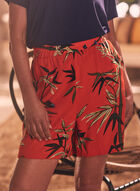 Palm Leaf Pull-On Shorts, Orange