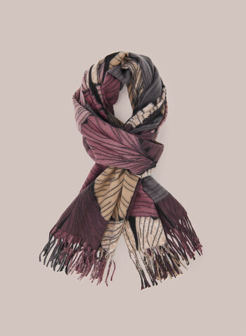 Fan Print Scarf, Pink,  Fall winter 2020, fringe, hem, scarf, fan print, wool