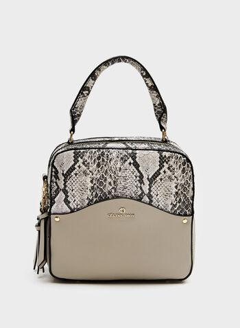 Céline Dion - Square Snakeskin Handbag, Grey, hi-res