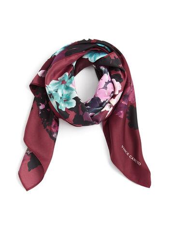Foulard carré imprimé fleuri, Violet, hi-res