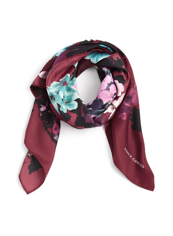 Floral Print Square Scarf, Purple, hi-res