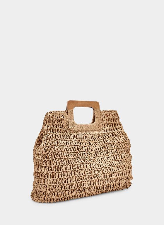 Wood Handle Straw Bag, Off White, hi-res