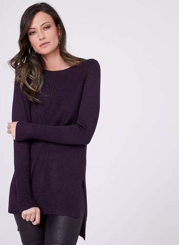 Mixed Stitch Tunic Sweater, Purple, hi-res