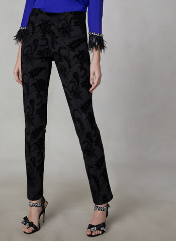 Madison Floral Paisley Pants, Black,  Canada, pants, paisley, floral, flocked, Madison, slim leg, fall 2019, winter 2019