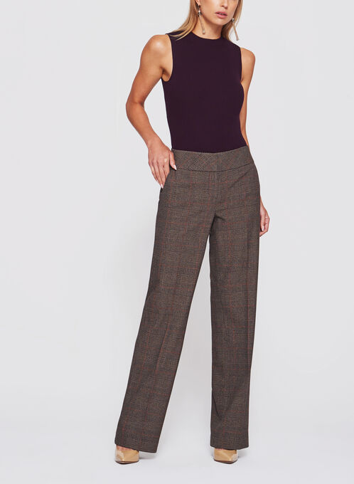 Pantalon jambe large Prince-de-Galles, Noir, hi-res