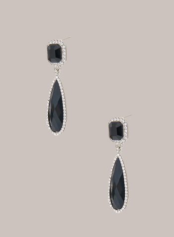 Elongated Faceted Stone Earrings, Black,  earrings, 2 tier, teardrop, square, faceted, stone, dangle, crystal, fall winter 2020