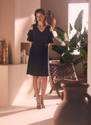 Ruffle Sleeve Cold Shoulder Dress, Black,  Spring Summer 2021, dress, short, little, ruffled sleeves, v-neck, cold shoulder