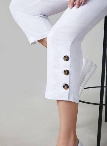 Pull-On Capri Pants, White,  capri pants, linen, spring 2019