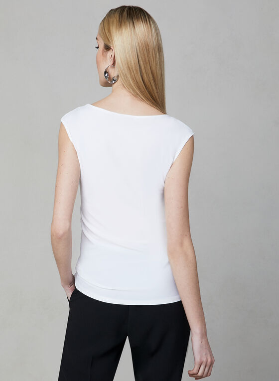 Sleeveless Illusion Neck Top, Off White, hi-res