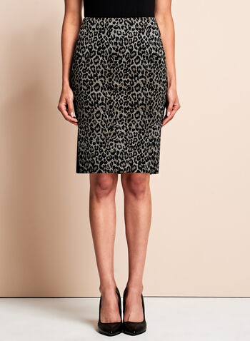 Ponte Leopard Print Pencil Skirt , , hi-res