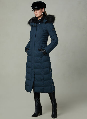 Bernardo - Long Faux Down Coat, Blue, hi-res,