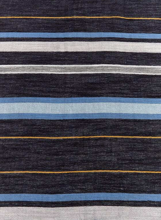 Foulard oblong à rayures , Bleu, hi-res