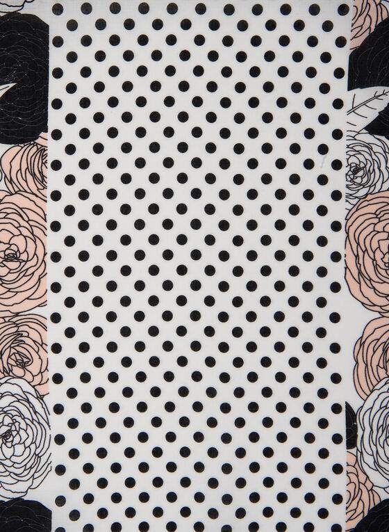Foulard à motifs pois et fleurs , Rose