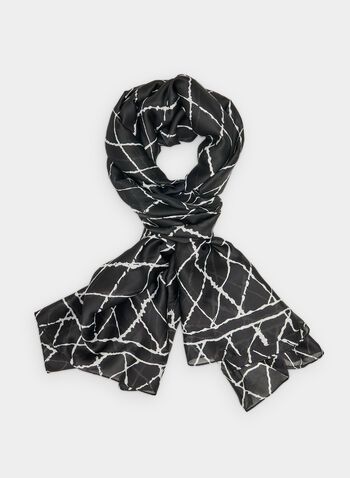 Geometric Print Scarf, Black,  diamond print, circles, polyester, silky, fall 2019, winter 2019