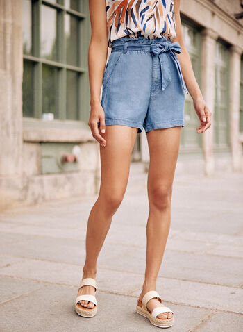 Paperbag Fluid Denim Shorts, Blue,  spring summer 2021, shorts, denim, fluid denim, tencel, belted, belt detail, tie detail, knot detail, paperbag, straight leg