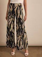 Brushstroke Print Wide Leg Pants, Blue