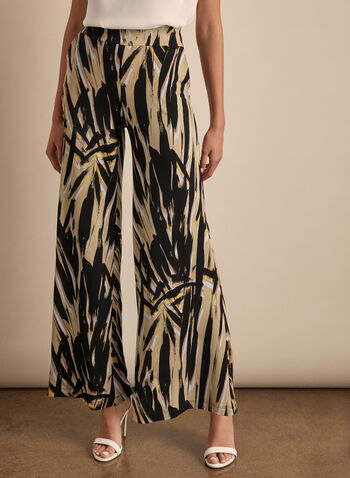 Brushstroke Print Wide Leg Pants, Blue,  pants, wide leg, palazzo, brushstroke, print, abstract, pull-on, stretchy, spring summer 2020