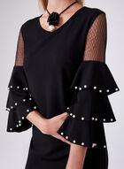 Frank Lyman - Ruffle Bell Sleeve Dress, Black, hi-res