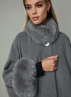 Mallia – Fox Fur Trim Wool Cape, Grey, hi-res