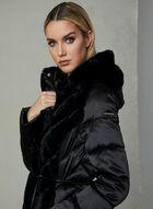 Karl Lagerfeld Paris - Quilted Faux Down Coat, Black, hi-res