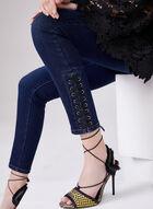 Jean à jambe étroite et lacets à l'ourlet, Bleu, hi-res