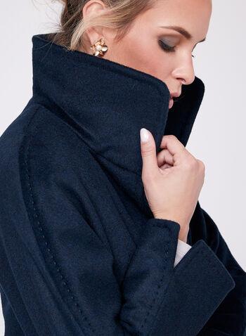 Ellen Tracy - Manteau en laine et angora, Bleu, hi-res