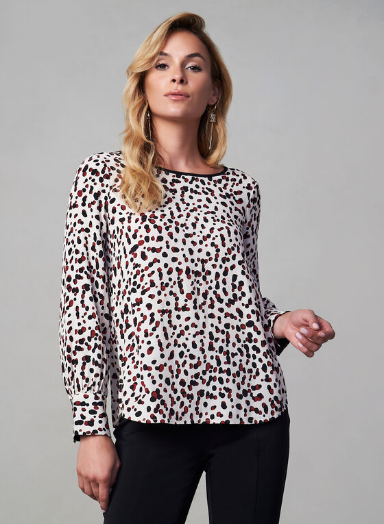 Abstract Dotted Print Top, Brown, hi-res