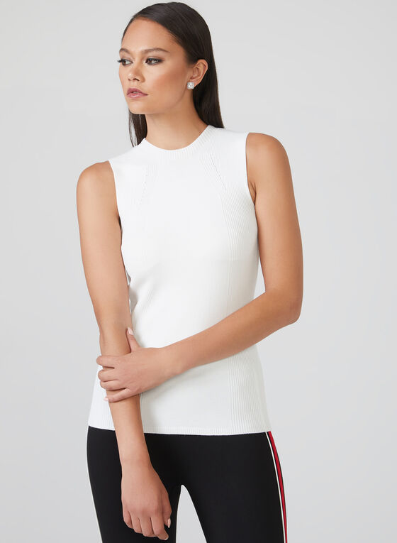 Sleeveless Knit Top, Off White, hi-res