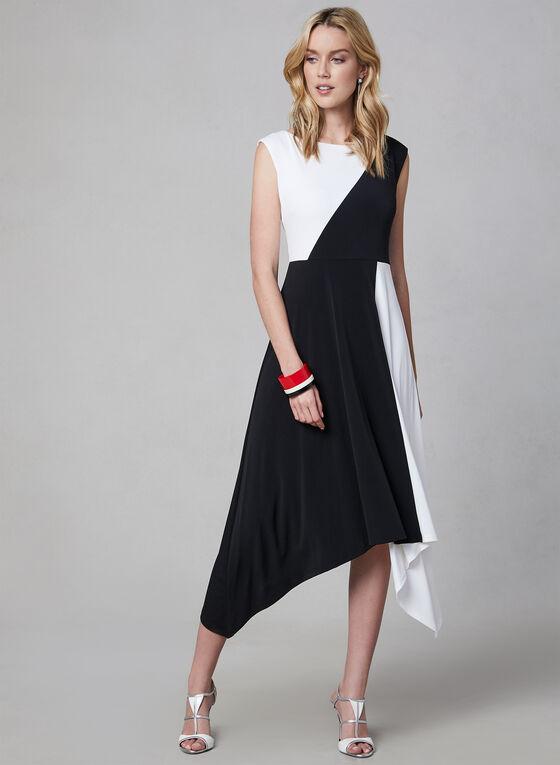 Maggy London - Robe asymétrique à blocs de couleurs, Noir