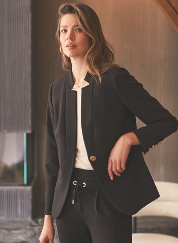 Inverted Notch Collar Jacket, Black,  jacket, inverted notch collar, long sleeves, single button, shoulder pads, spring summer 2020