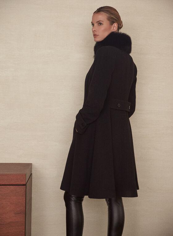 Mallia - Manteau en laine mélangée à col fourrure, Noir
