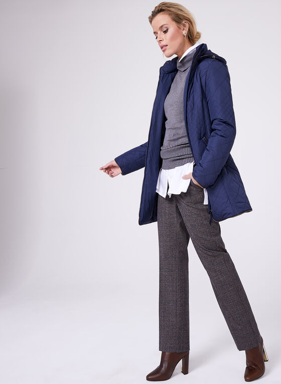 Faux Leather Trim Quilted Coat, Blue, hi-res