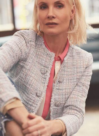 Blazer ouvert d'inspiration Chanel , Blanc,  blazer, chanel, boutons, manches longues, ouvert, coton, printemps été 2020