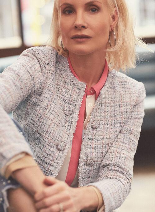 Blazer ouvert d'inspiration Chanel , Blanc