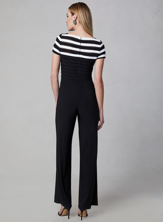 Adrianna Papell - Stripe Print Collar Jumpsuit, Black, hi-res