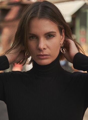 Haut à col roulé en tricot côtelé, Noir,  haut, pull, col roulé, manches longues, tricot côtelé, automne hiver 2021, basique