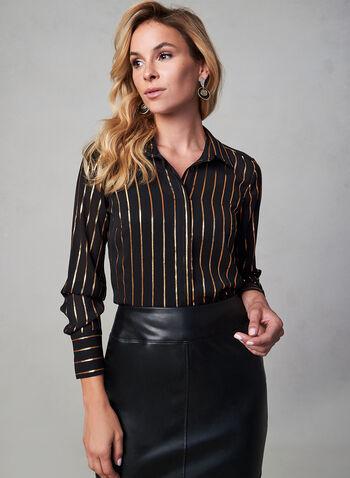 Metallic Stripe Print Blouse, Black, hi-res,  stripe print, long sleeves, chiffon, blouse, asymmetric hem, fall 2019, winter 2019