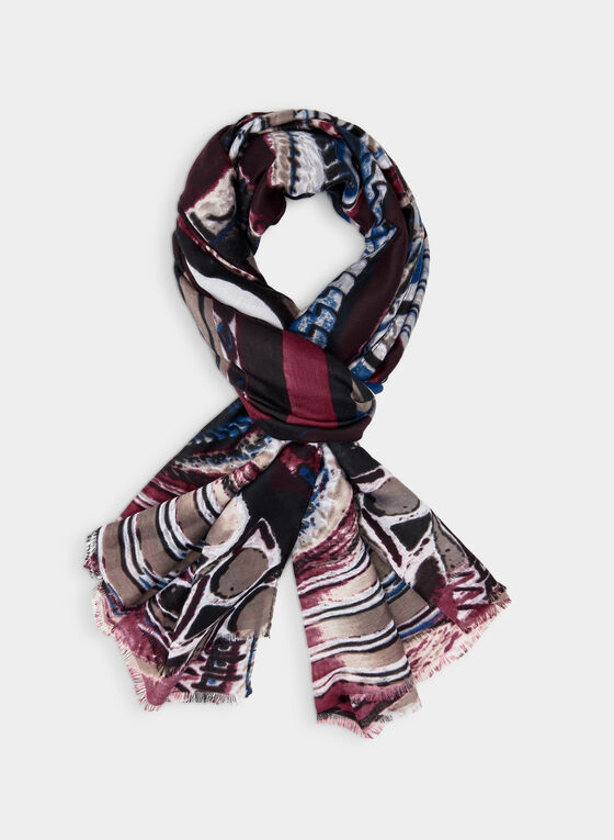 Retro Print Scarf, Black