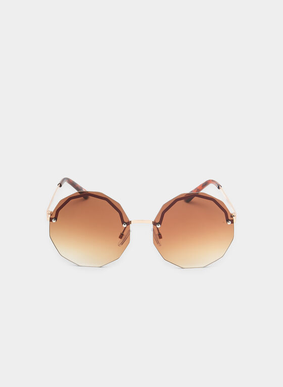 Geometric Sunglasses, Brown, hi-res