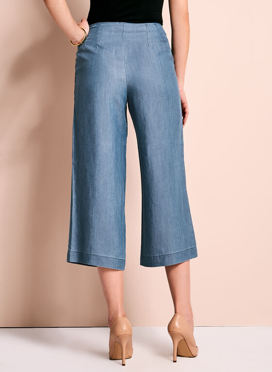 High-Waisted Cropped Culottes, Blue