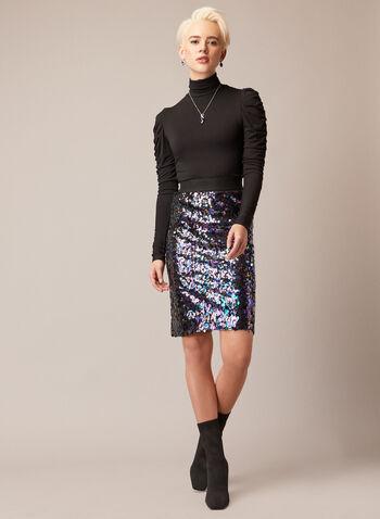Jupe crayon à sequins, Noir,  automne hiver 2020, fêtes, paillettes, sequins, brillant, scintillant, à enfiler, pull on, élastique