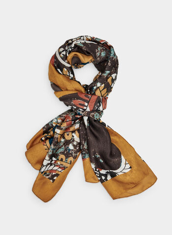 Paisley Print Scarf, Yellow,  lightweight, paisley, fall 2019, winter 2019, silky